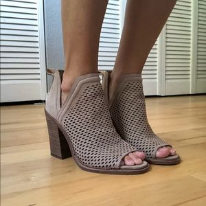 Vince Camuto Open Toe Bootie (Taupe)